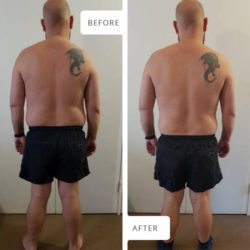 Before and After photographs of Werner Pretorius: view from behind