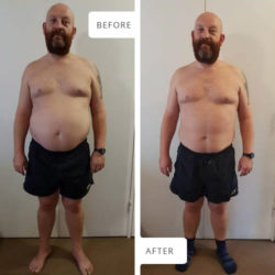Front view Before and After photographs of Werner Pretorius