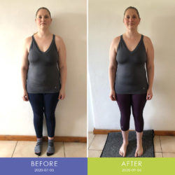 Before and After front of Brunhilde Gerber (Body Transformation)