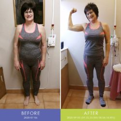 Before and After front of Retha Duvenage (Body Transformation)