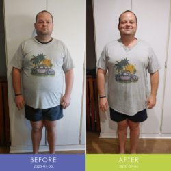Before and After front of Rikus Marais (Men's Body Transformation)