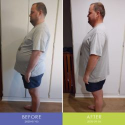 Before and After side of Rikus Marais (Men's Body Transformation)