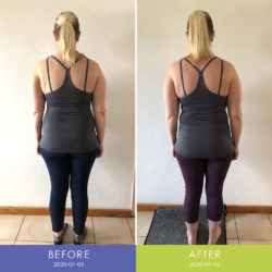 Before and After back view of Brunhilde Gerber (Body Transformation)