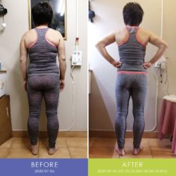 Before and After back of Retha Duvenage (Body Transformation)
