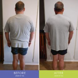 Before and After back of Rikus Marais (Men's Body Transformation)